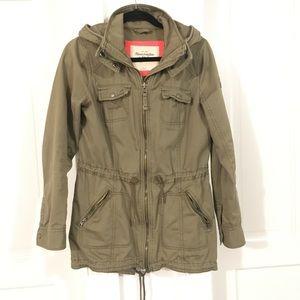 Abercrombie olive green cargo utility jacket